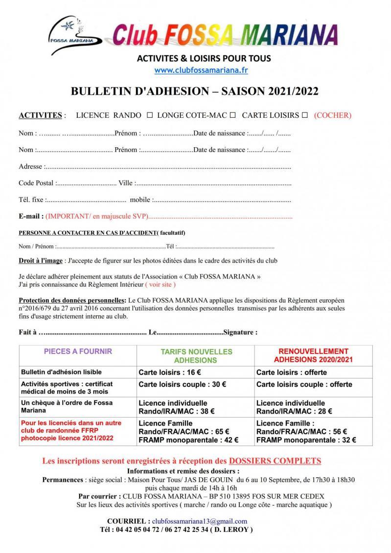 Bulletin adhesion 2021 2022 1